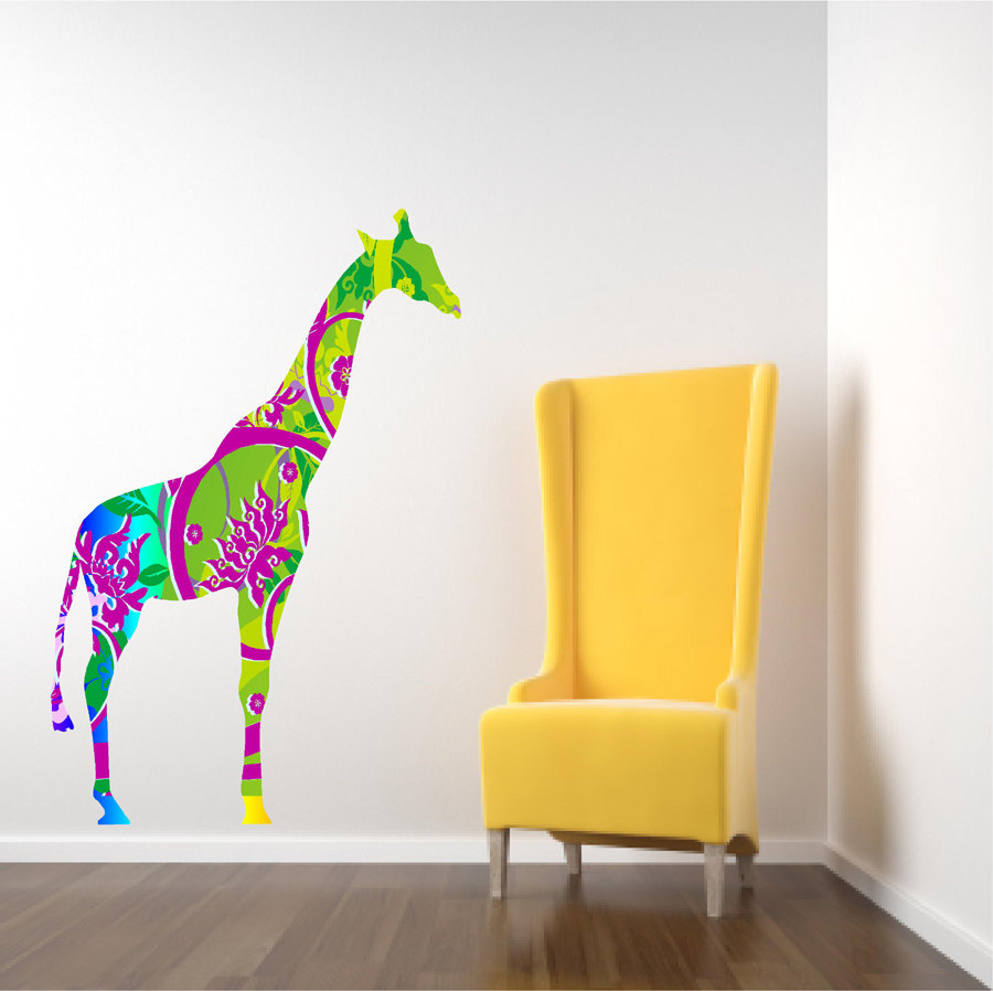 Kids Decor Giraffe Wall Decal In Bright Tropical Colors on Luulla