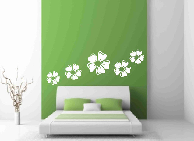 White Floral set Wall Decals for Home