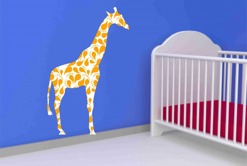 Giraffe Wall Decal with Paisley pattern for Nursery
