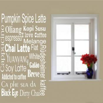Coffee Beverages Wall Decals for Kitchen Decor