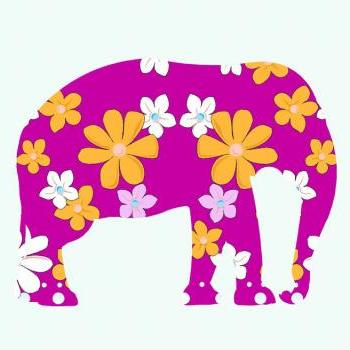 Pink Elephant Fabric Wall Decals for Children